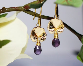 Gold Plated Lotus Orchid Purple Quartz Earring,Lotus Petal Earrings,Flower Earrings,Quartz Earring,Special Gift,Bridal Shower Gift,Sister