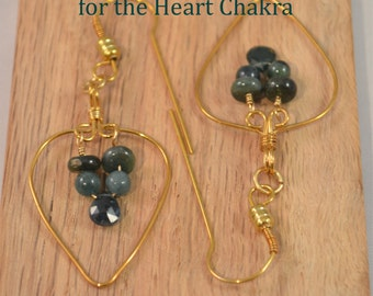 Teal Green Tourmaline Earrings, within a Hand-Made Brass Leaf Shape, on Hand-Made Brass Fish-hook Earwires