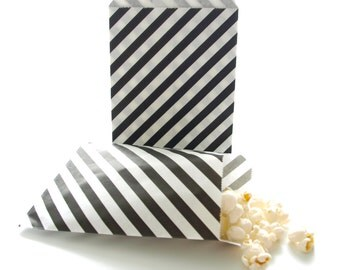 Black Goodie Bags, Treat Bags, Mini Wedding Favor Bags, Black Paper Bags, 25 Pack - Black Striped Party Bags