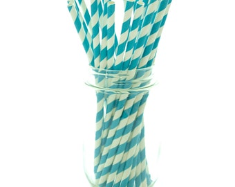 Teal Blue Striped Straws, Fun Straws, Paper Party Straws, Blue Drinking Straws, 25 Pack - Aqua Blue Stripe Straws