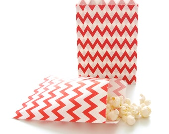 Chevron Gift Bags, Wedding Bag Favors, Giveaway Bags, Red Paper Goodie Bags, 25 Pack - Red Chevron Party Bags