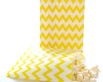 Yellow Chevron Bags, Small Gift Bags, Wedding Favor Bags, Small Goodie Bags, 25 Pack - Yellow Chevron Party Bags