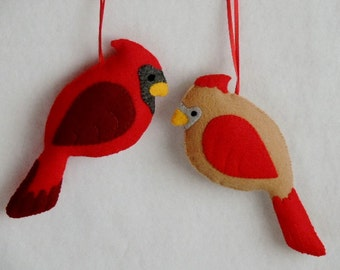 Cardinal Ornaments Felt Ornaments Bird Ornaments Winter Bird Gift Set Handmade Christmas Ornaments (male cardinal & female cardinal)