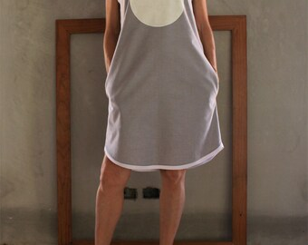 Big White Dot on Grey with White Trim Handmade Cotton Shift Dress