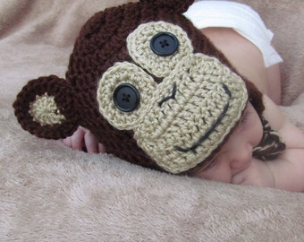 Monkey Crocheted Hat- Ready to Ship!!
