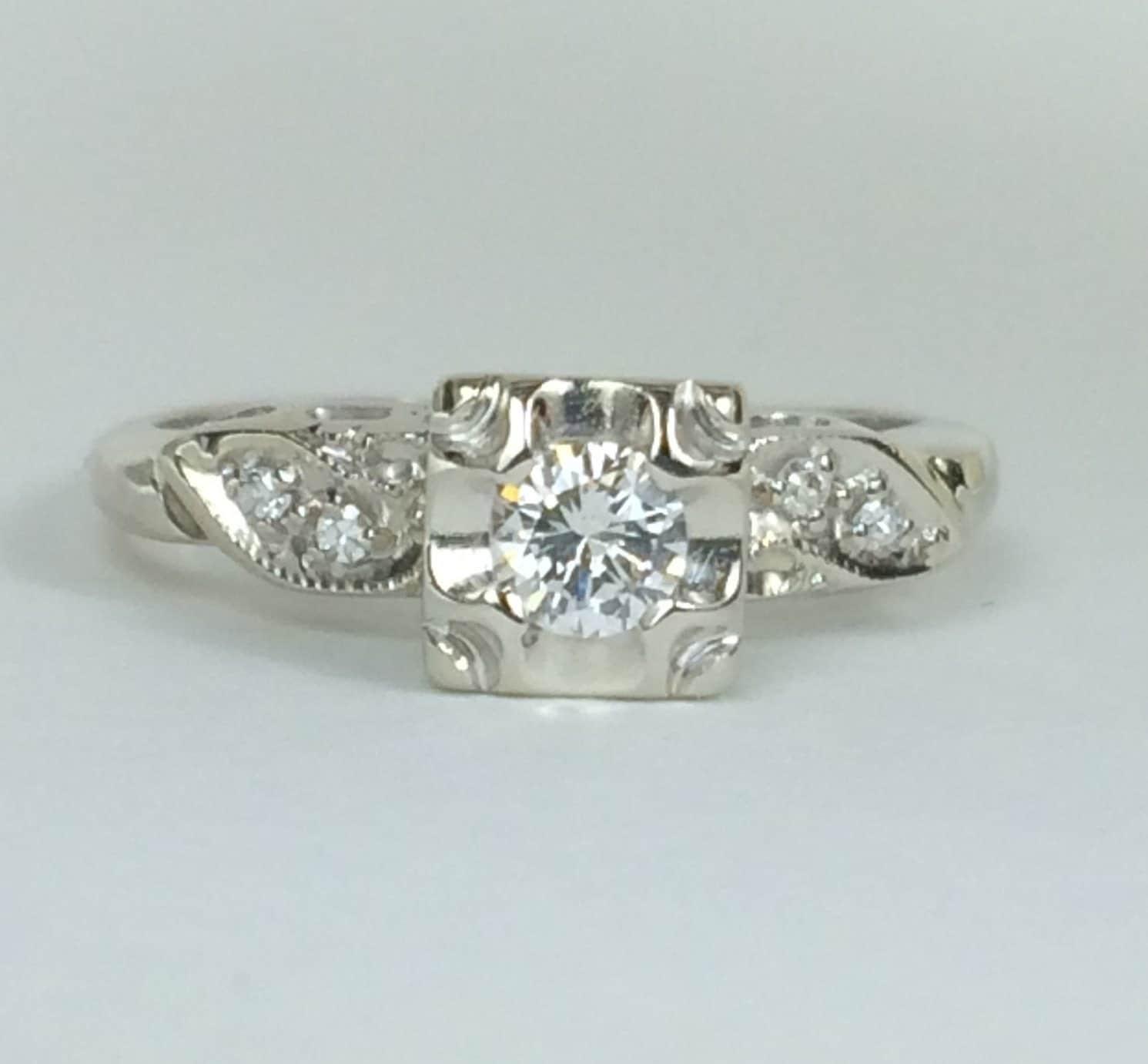 vintage engagement ring white gold vs estate promise