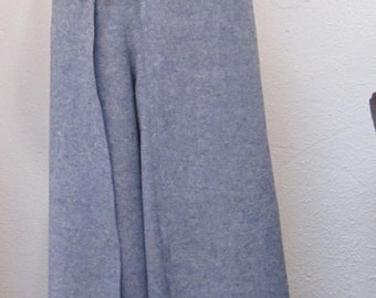 Blue Denim Linen Wrap Pants