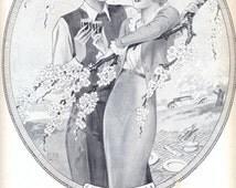 BYRRH aperitif vintage advertising poster, Lanvin Perfumes ad on the reverse page, illustration print, original art deco advertisement 1933