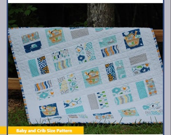 Two by Two Quilt PDF Pattern for Beginners in Baby, Crib, Toddler Size, Using Fat Eighths or Layer Cakes