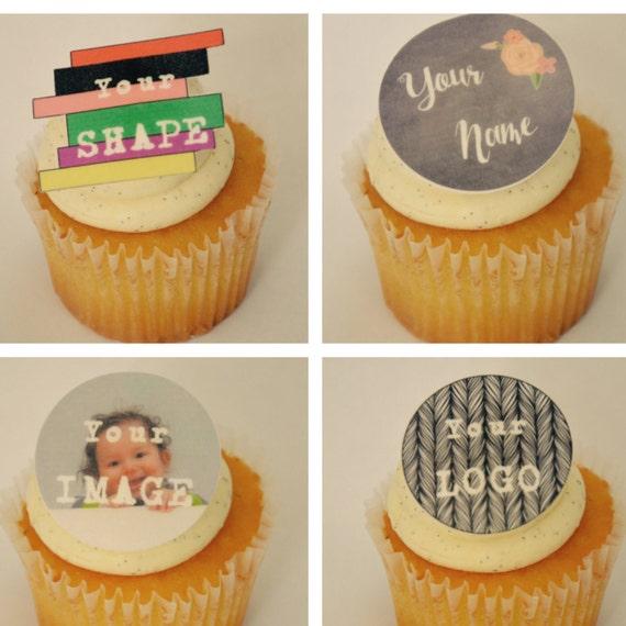 Custom cupcake toppers,edible, custom logo,cupcake ...