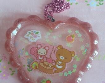 Rilakkuma Has a Picnic Kawaii Pink Resin Pendant Necklace