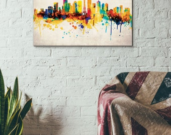 Seattle Skyline, Digital Watercolor Art Print, Modern Home Decor ,No,334
