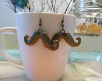 Brass Mustache Earrings
