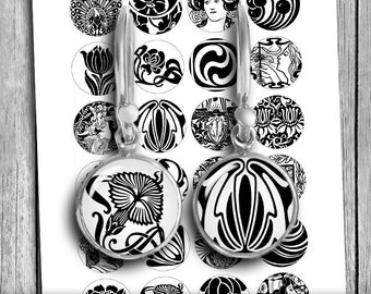 Art Nouveau Black and White circles 12mm 14mm 16mm 18mm Printable Jewelry images Digital Collage Sheet - Instant Download