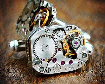 Watch Movement Cufflinks With Rubies - Silver Plated - Steampunk Vintage Mens Cuff Links -  Ideal Gift