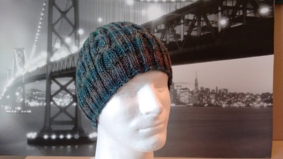 Mens Knitted Hat Gray medium weight sock yarn by NeedleLoveKnits