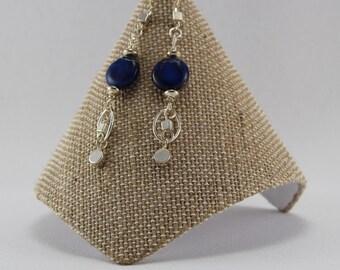 Dark Blue Stone Drop Earrings  SN-29