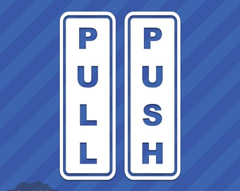 2 Piece Push Pull Door Sign Entrance Exit Vinyl Decal Sticker