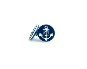 Deep blue anchor button stud earrings