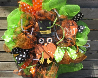 "24"" Halloween Wreath Halloween Decor Halloween Deco Mesh Wreath Owl Wreath Halloween Owl Wreath Black Orange Wreath Trick Or Treat Wreath"