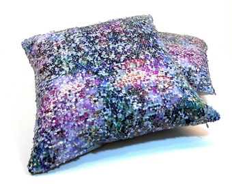 Free shippping/MULTICOLOR SEQUIN PILLOW Cover20x2 inches-Acqua-blue-pink-Luxury pillow-Throw pillow-Decorative pillow-Accent-Handmade