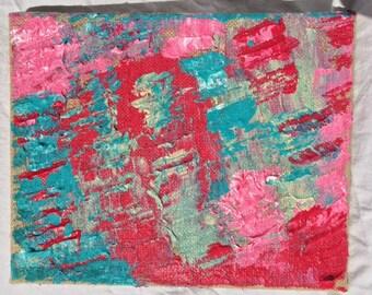 PI on burlap canvas acrylic painting