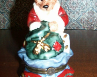 Vintage Boyds Bears Santa's Helper Porcelain Hinged Keepsake Trinket Box - Bearware Potteryworks