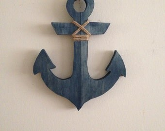 Reclaimed wood anchor, anchor with jute, nautical home decor, beach home decor, nursery decor, repurposed wood, ocean life, beach house