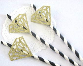 12 Bachelorette Party Straws Bridal Shower Straws Engagement Straws Wedding Straws Black Gold Bachelorette Black Gold Engagement