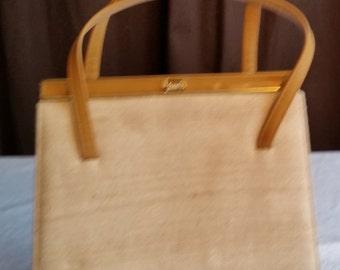 Vintage Lennox Tan Linen Handbag