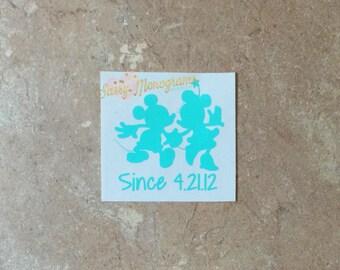 Mickey and Minnie Couple Since Custom Vinyl Decal