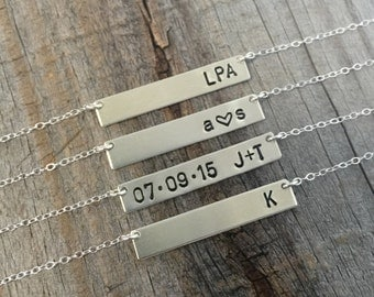 Custom Silver Bar Necklace - Personalized Bar Name Necklace - Customized Bar - Hand Stamped Bar Necklace - Sterling Silver Initial Necklace