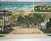 Grand Motel, Pasadena, California On U.S. 66 Vintage Linen Postcard