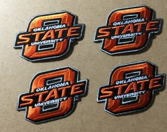 4 Oklahoma State Cowboys embroidered Iron on patches OSU