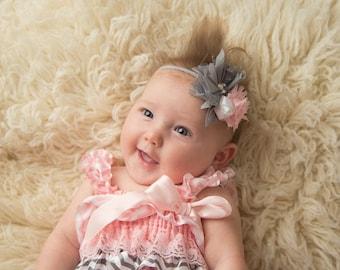 Pink Gray and White Newborn Headband - Flower Headband