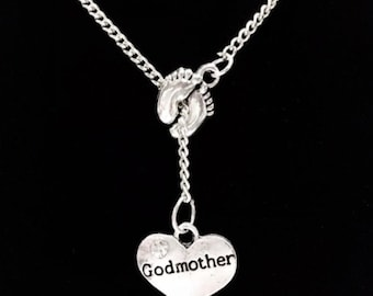 Baby Footprints Feet Godmother Heart Mother Gift Y Lariat Necklace