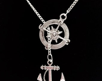 Compass Anchor Of Hope Refuse To Sink Lariat Necklace