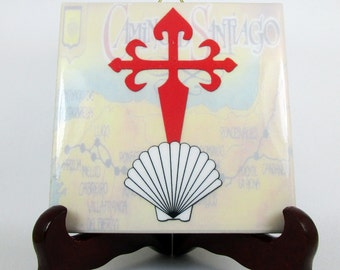 Camino de Santiago symbols seashell and St James Cross ceramic tile collectible memorabilia catholic gift religious Way of St. James