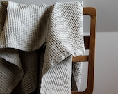 Large bath towel - gift for him - gift for her - natural linen and off white cotton towel for bath or sauna - linge de bain    | 0044