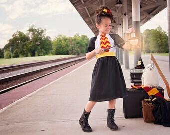 Boutique custom handmade Harry Potter inspired Gryffindor House Dress, Harry Potter Dress, Harry Potter Costume
