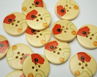 Decorative wooden buttons with Poppy design. Pack of 6 each one 25mm diameter