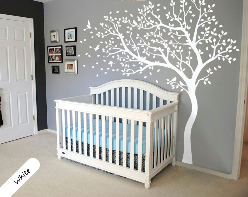 White Tree Wall Decal Huge Tree wall decal Wall Mural Stickers Nursery Tree  and Birds Wall Art Tattoo Nature