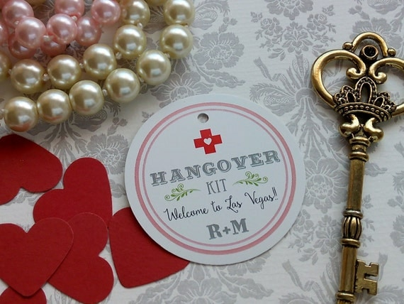 Wedding Favor Tag Kit : Kit Tags. Custom Wedding Favor Tags- Round Wedding Tags -Hangover Kit ...