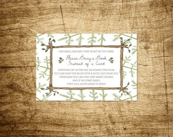iDownload, Bring a book instead of a card, Forest Friend baby shower invitation insert, read your children, hand drawn 4x6