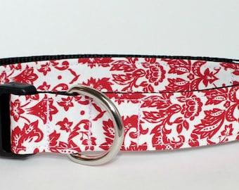 Red Damask Dog Collar