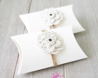 White Pillow Boxes (hemp & paper flower) • Wedding Favour • Bomboniere • Baby Shower Favor Box • Gift Box