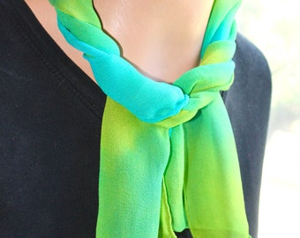 OOAK Turquoise, Green and Yellow Hand Dyed Chiffon Silk Scarf