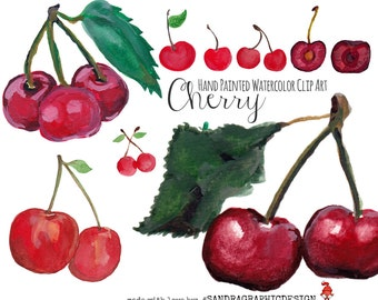 Cherry clip art with hand painted watercolor cherries, delicious fruit clip art images (5012)