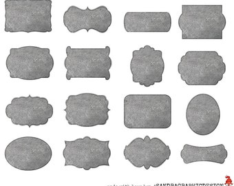 Concrete labels clipart, with 16 grey labels in different shapes with concrete texture, clipart 300 dpi PNG  files (5059)