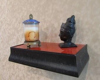 Black and Copper Floating Shelf, Wall Mounted Floating Ledge, Handcrafted Shelf, Hot Orange,Religious Alter, Entryway shelf,Distressed frame